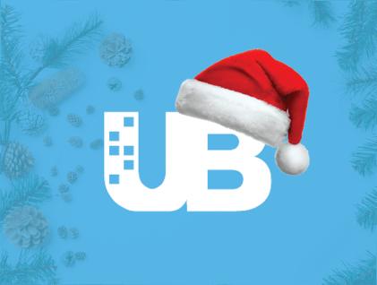 UB holiday image with Santa hat